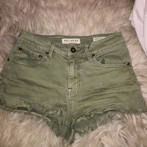 army green bullhead jean shorts